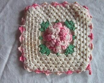 Antique Crocheted Potholder Pink Rose Motif