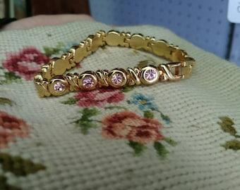 Vintage pink gem bracelet vintage costume jewelry bracelet gold tone bracelet faux morganite