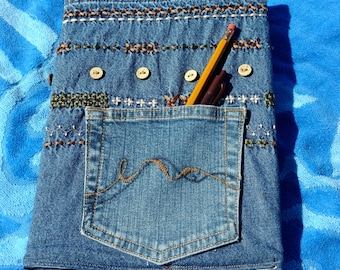 Embroidered Denim Journal, Composition, Notebook Cover, Jacket, with Pocket, Reusable