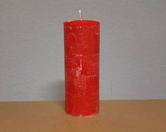 Red candle in Landhausstyle approx. 220 x 74 mm / rustic look