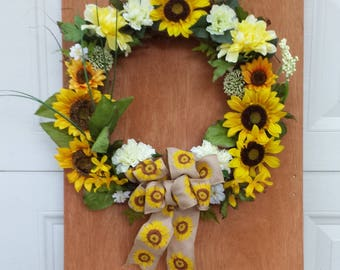 Beautiful Sunflower Silk Floral Wreath