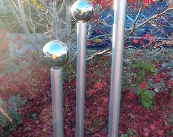 Garden pillars narrow stainless steel - set of 3 Garden decoration silver