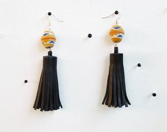 Black Leather Tassel Earrings with Yellow Kenyan beads