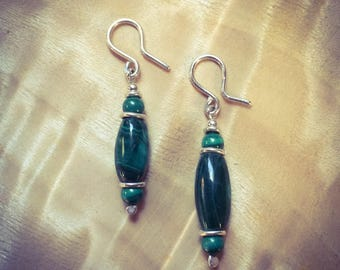 Malachite & Sterling Silver Drop Earrings
