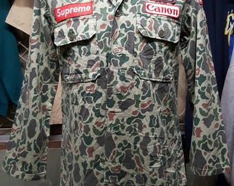 Patched Military Camouflage Jacket / Reworked Vintage Military Camo Jacket with Patches / Vintage Camo Jacket / Vintage Army Jacket Size: S