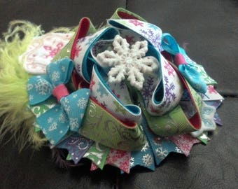 Multi Color with White Snowflake/Green Fur Bow