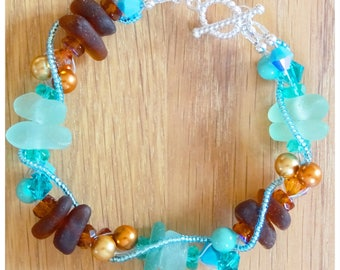 Turquise and brown sea glass bracelet