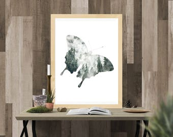 Foggy Forest Butterfly Wall Art, Home Decor, Wall Print