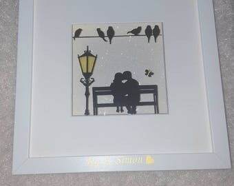 Couple in love. Night light frame box