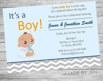 Baby Shower Invitation, It's A Boy, Blue and Orange, 5x7 or CUSTOM
