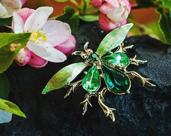 Gorgeous Vintage Green Glass and Gold Tone Winged Insect Brooch