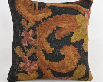 kilim pillow Primitive Pillow Sofa Seat Brown shabby chic cushion knitted throw