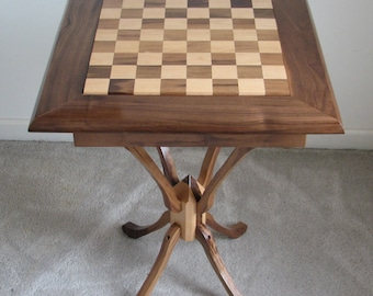 Walnut and Maple Chess Table