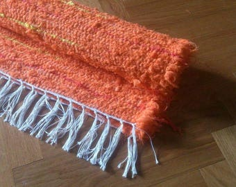 Rag Rug Handmade Orange Rug with Red and Yellow Stripes Handwoven