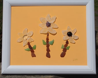 Nova Scotia sea glass flower art