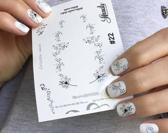 Personal Nail Sliders for Nails. Decoupage paper. Decoration nails. Nail Stickers.