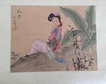 Vintage Silk Japanese Watercolor Painting 1 of 3