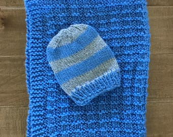Carseat Cozy Blanket with matching Knit Hat