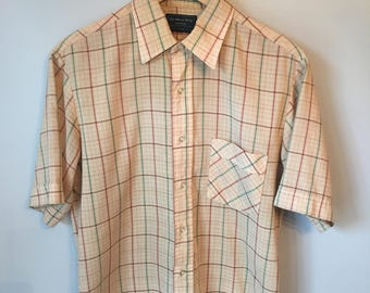 Men's Vintage Button-up Tan Plaid Shirt 70s 80s