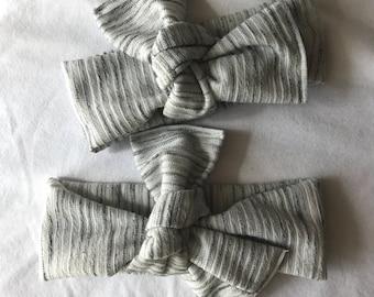 Textured gray headwrap