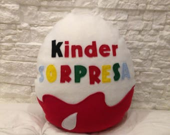 Pillow kinder surprise customizable on the back