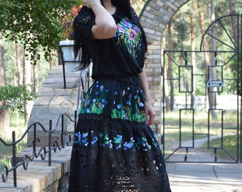 """Embroidered dress costume """"BRIGHT FLOWERS in the night"""""""