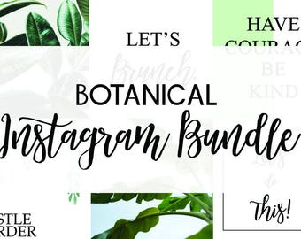 6 Botanical Branded Instagram Posts - Social Media Posts - Blogger Posts