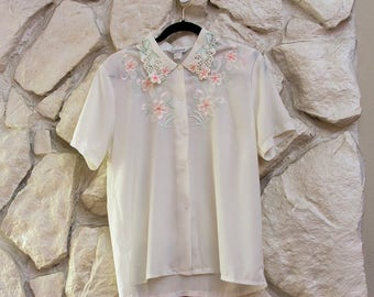 Old School White Blouse with Floral Detail