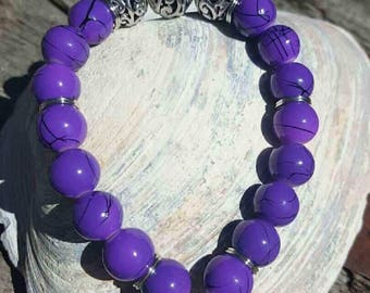 Bright Purple Bracelet with Fish Charm