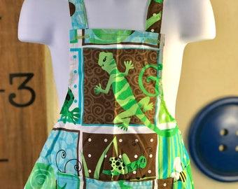Handmade Child's Apron- Blue & Green