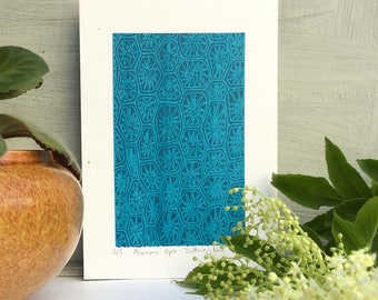 Screenprint, Art Print, Limited Edition, Small Art Print, Abstract, Modern Art, Gift idea, Paper Anniversary Gift, Blue Print, Pattern Print
