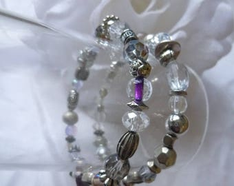 Set of two handmade beaded stretch bracelets silver and glass beads