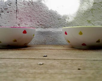 Set of two bowls green and pink