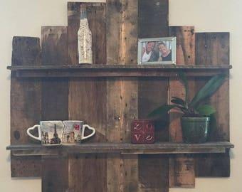 Destressed, reclaimed wooden custom shelf