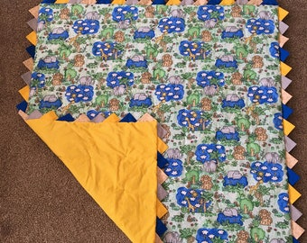 Crib Size Jungle Themed Baby Boy Blanket
