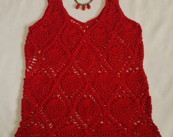 Red Crochet Blouse