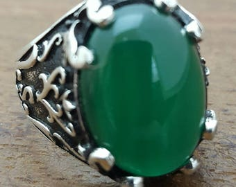 Handmade Silver Mens Ring With Natural Green Agate  Stone