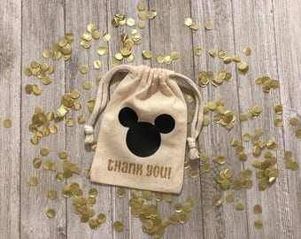 Thank You Mickey Mouse Head-Party Favors Bags-Birthday-Disney-Characters-Events-Gold-Black