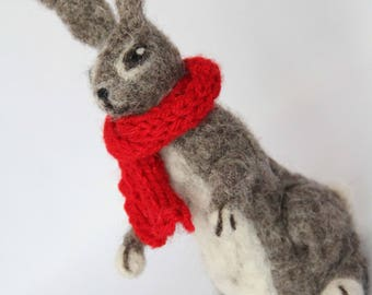 Needle Felted Hare 100% Wool