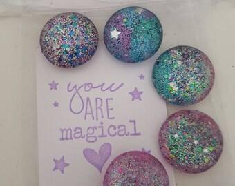 Set of Mini Magnets, Handmade Magnets, Glitter Magnets, Sparkle Magnets, Stars and Sparkles, Cabochon