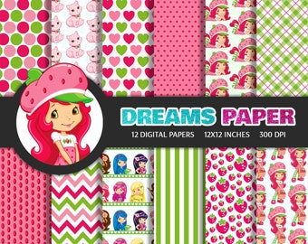 Strawberry Shortcake - Digital Paper + Free Clipart