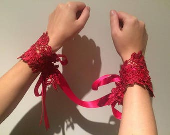Red Guipure Lace Beaded Handcuffs