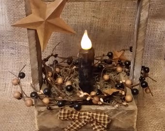 Primitive Wooden Box with Berries and Flame-less Candle Stick