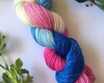 Hand dyed yarn, Lollipop, DK, superwash New Zealand Polwarth wool, 100g, 225m.