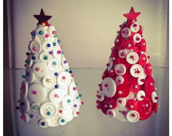 Button Christmas tree. Handmade. Red and white