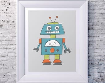 Illustrated Robot Print