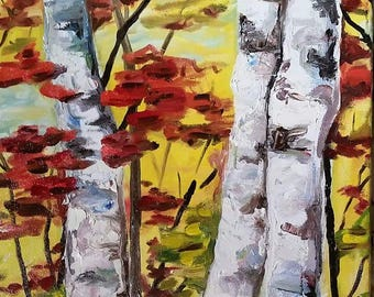 Three Birches - original oil painting