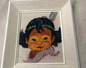 "Vintage Native American Baby Boy Framed Needlepoint Indian Head Dress - Reserved for ""L"""
