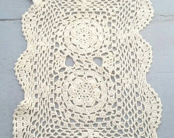Hand Crocheted Natural Cotton Table Runner. Vintage Wedding Decor. Farmhouse decor. Dresser Scarf.