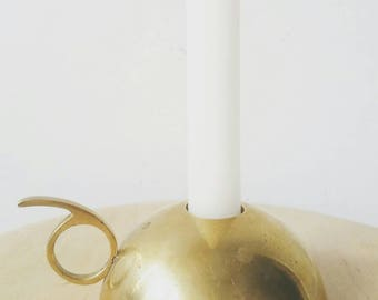 Minimalist Solid Brass Candlestick. Solid Brass Candle Holder. Minimalist Decor. Gold accent.